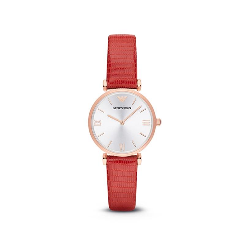 【香港直邮】ARMANI/阿玛尼 红色皮带女式手表轻薄简约休闲石英表 AR1876