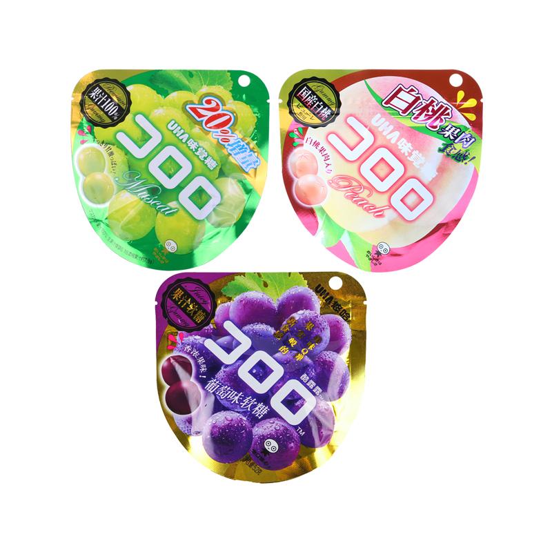 日本 悠哈UHA糖 紫葡萄/青提子/白桃果汁软糖三种口味组合
