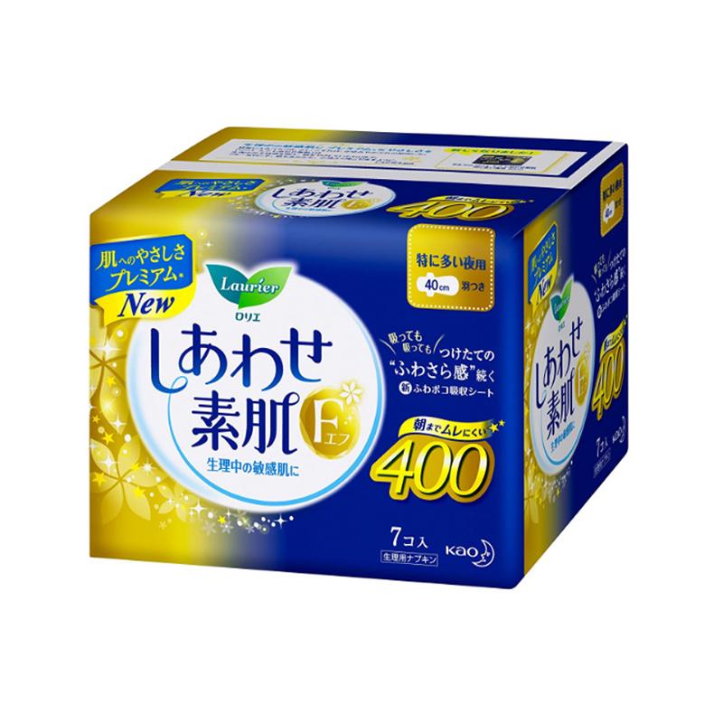 日本进口花王乐而雅棉柔瞬吸夜用加长护翼卫生巾40cm*7片